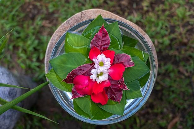 Vase ist mit wasser gefüllt und mit grünen blättern und schönen blumen im tropischen garten dekoriert. ubud, insel bali, indonesien. nahaufnahme, ansicht von oben
