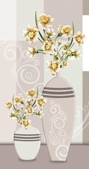 Vasen der klassischen 3d-illustration mit goldenen blumen für die inneneinrichtung der leinwandwandkunst