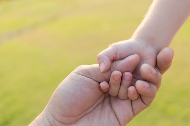 Vater und sohn, die hand in hand am garten im freien halten.