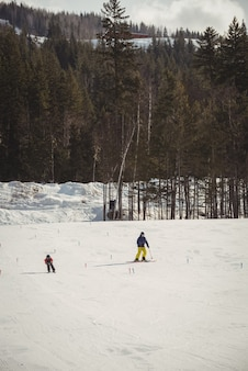 Vater und sohn fahren auf schneebedeckten alpen ski