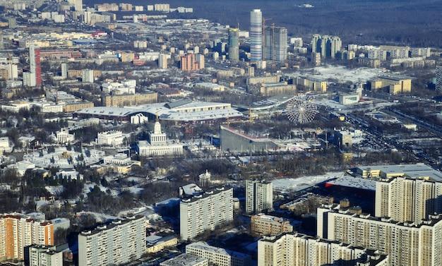 Vdnkh (allrussisches ausstellungszentrum) blick vom fernsehturm ostankino