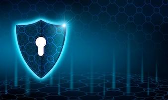 Vector blaues Schild Geschäftskonzept des Datenschutzes Blauer Schildblauhintergrund