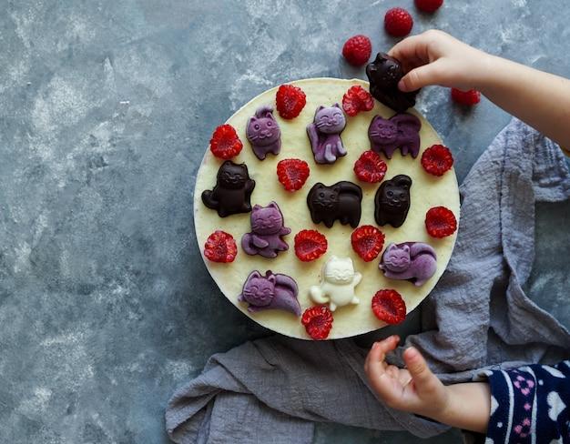 Vegane kuchen für kinder mit früchten und beeren, dekoriert mit schokoladenkatzen