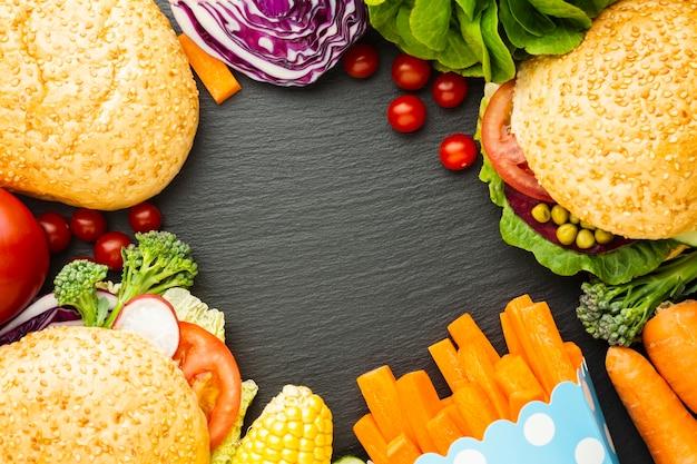 Vegane lebensmittelanordnung der flachen lage mit kopienraum
