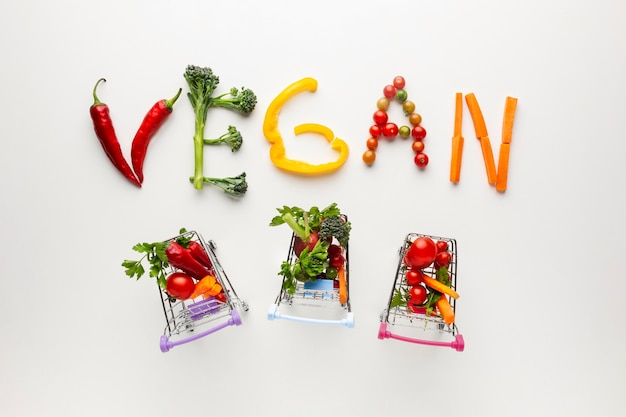 Vegane schrift mit winzigen einkaufswagen