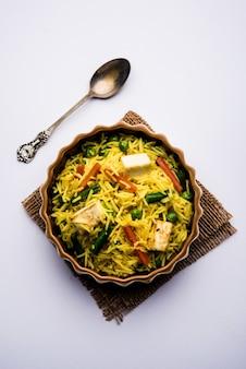 Vegetarisches paneer biryani oder panir pulav, beliebtes indisches essen