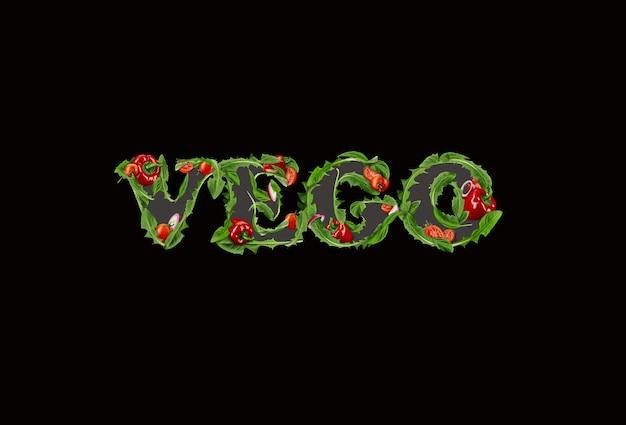 Vego-inschrift von reifen tomaten, rotem paprika, zwiebeln und grünem rucola auf schwarzem hintergrund. kreatives kochkonzept. nahaufnahme, platz kopieren