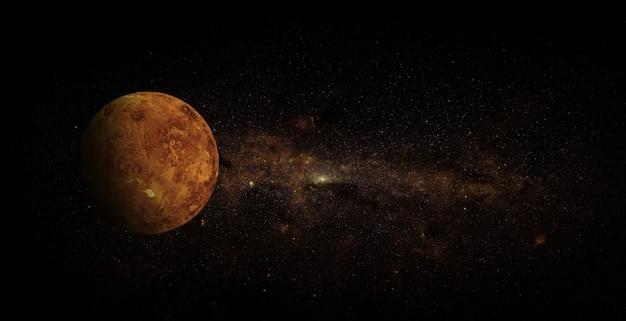Venus auf raumhintergrund. elemente dieses bildes von der nasa geliefert.