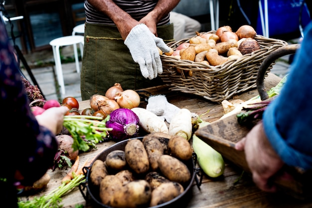 Veränderung des frischen organischen gemüses auf holztisch
