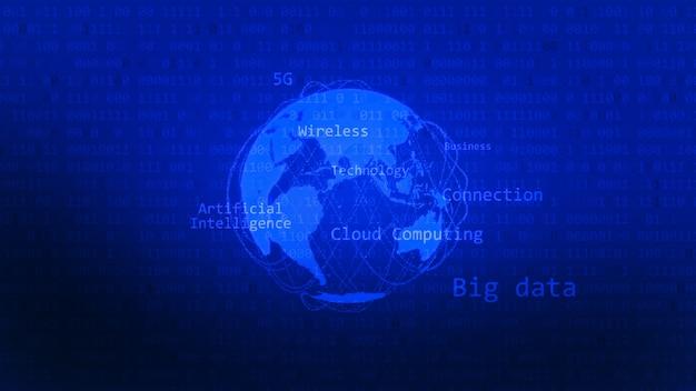 Verbinden sie das digitale konzept der künstlichen intelligenz mit der weltform. blauer hintergrund für große daten.