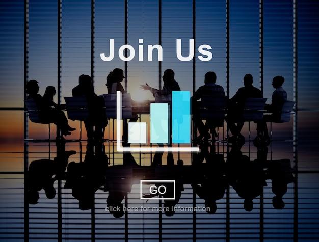 Verbinden sie uns rekrutierung online-technologie-website-konzept