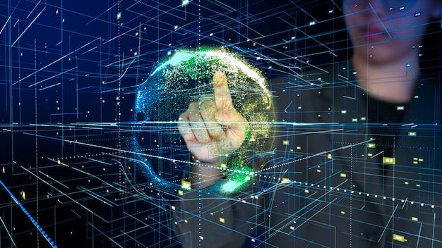 Verbindung um erde, jemand zeigt auf die globale abstrakte wiedergabe des technologiehintergrundes 3d