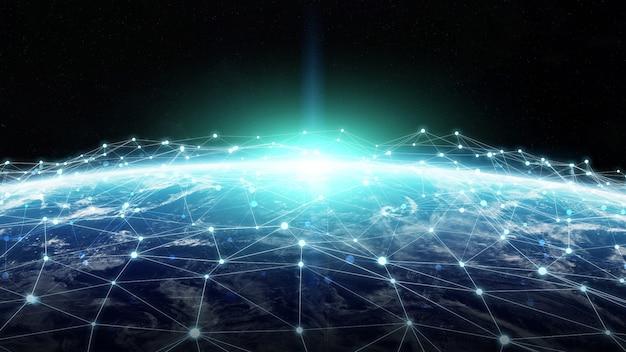 Verbindungssystem und datenaustausch auf 3d-rendering des planeten erde
