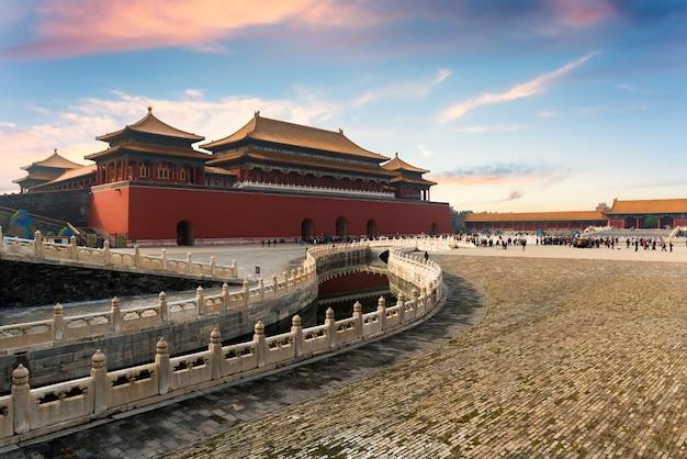Verbotene stadt ist ein palastkomplex und ein berühmtes ziel im zentrum von peking, china.