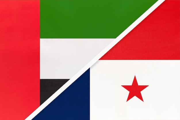 Vereinigte arabische emirate oder vae und panama, symbol zweier nationalflaggen aus textil.