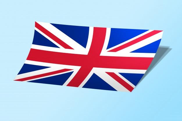 Vereinigtes königreich flagge gebogen