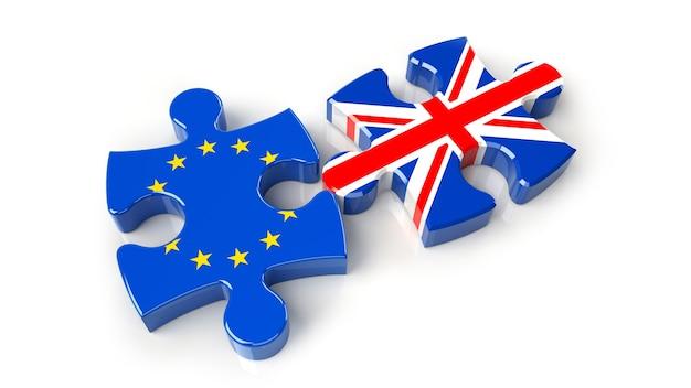 Vereinigtes königreich gegen europa-puzzle-konzept. 3d-rendering