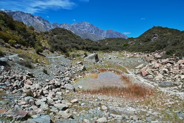 Verfolgung auf dem tasman-gletscher, neuseeland,
