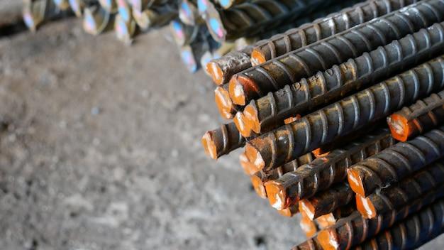 Verformter stabstahl für beton und baustahl. metallmaterialbeschaffenheit.