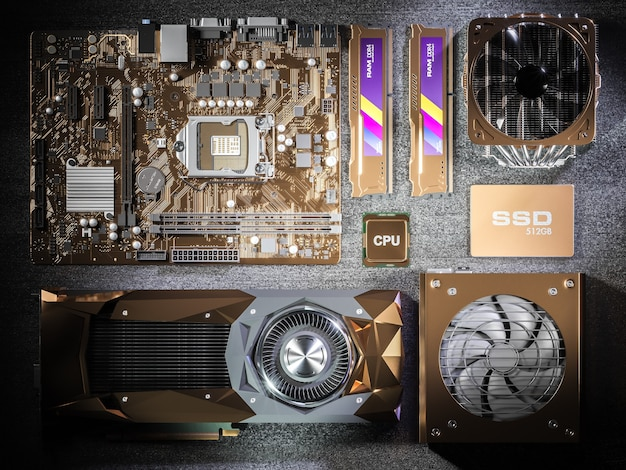 Vergoldete pc-hardwarekomponenten auf schwarzem hintergrund. 3d-illustration