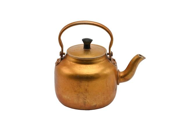 Vergoldeter metallkessel isoliertgoldene teekanne