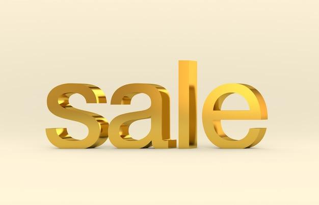 Verkauf 3d textwort. goldbeschaffenheit, 3d übertragen.