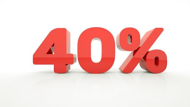 Verkauf 40 prozent rabatt verkauf symbol aufkleber tag sonderangebot label werbung abzeichen 3d-bild