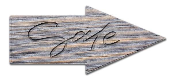 Verkauf. handschriftliche inschrift auf einem holzschild. getrennt auf weiß.