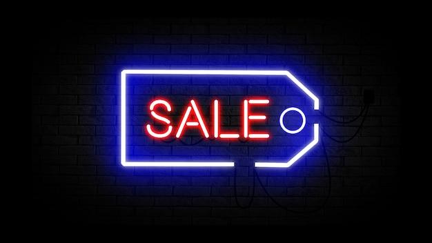 Verkauf leuchtreklame, verkauf und rabatt-konzept. satz leuchtende leuchtreklamen für e-commerce, werbung, banner, plakatwand. einkaufswagen, taschen und schild. vektor