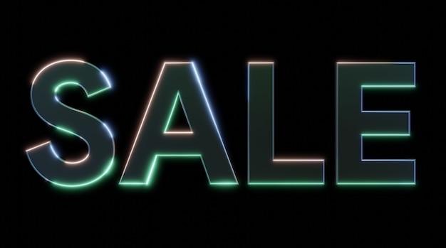 Verkauf metall-neoneffekt-schild mit licht- und glanzeffekten 3d-darstellung, 3d-text rendern