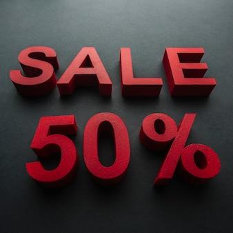 Verkauf mit fünfzig-prozent-rabattnahaufnahme