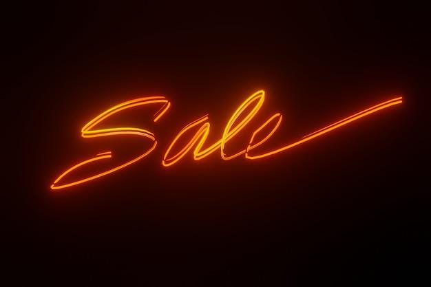 Verkauf neonschild stil überschrift design für banner oder poster 3d-rendering