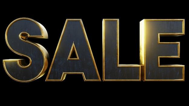 Verkauf text metallischer goldeffekt 3d-darstellung für flyer card business store shop
