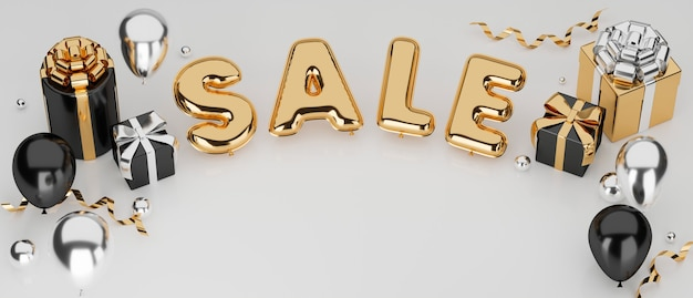 Verkauf werbung online-banner in luxuskonzept kopie raum und dekor mit weißem hintergrund