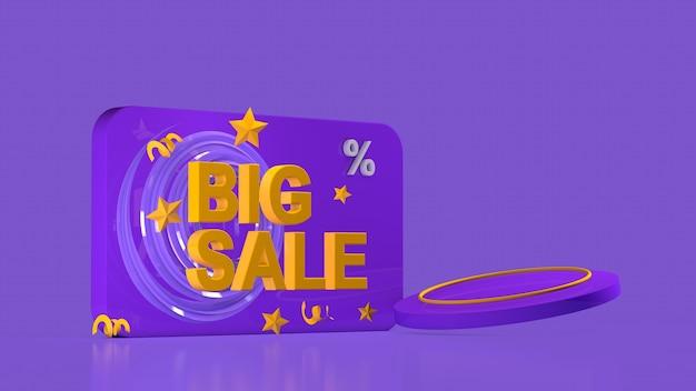 Verkaufsförderungsbanner großer verkauf mega-verkauf flash-verkauf 3d-rendering