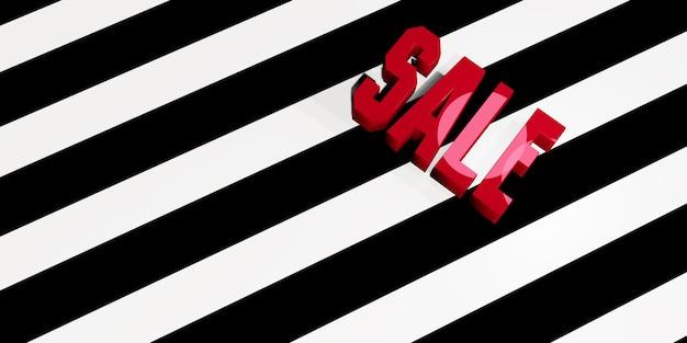 Verkaufstext auf hintergrundschwarzweiss-diagonalstreifen-zebramuster-3d-illustration