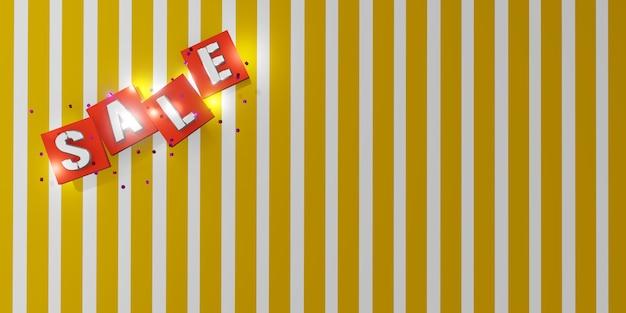 Verkaufstext auf weißer und gelber diagonaler streifenhintergrund 3d illustration