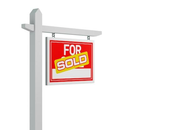 Verkauft für verkauf immobilienschild über weißem hintergrund. 3d-darstellung