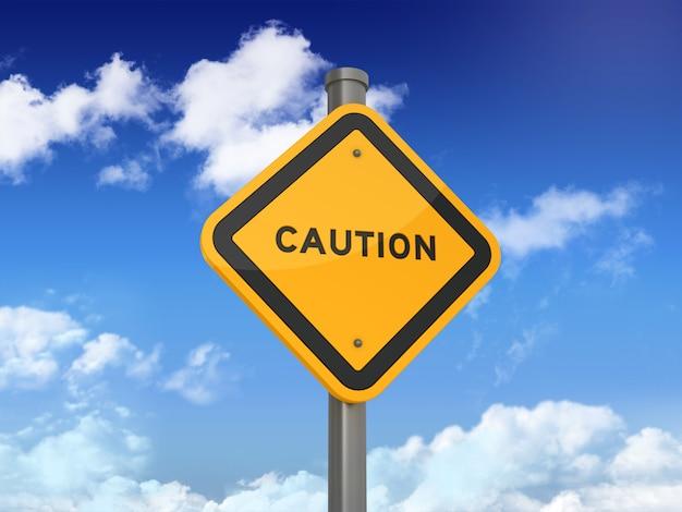 Verkehrsschild mit vorsicht wort auf blauem himmel