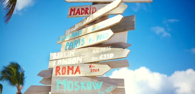 Verkehrsstraßenschild einschließlich moskau, rom, london, berlin, paris, rio de janeiro auf blauem himmelhintergrund im retro-stil
