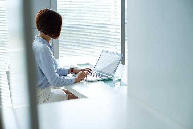 Verkleideter nocken schoss von der geschäftsfrau, die am laptop im büro arbeitet