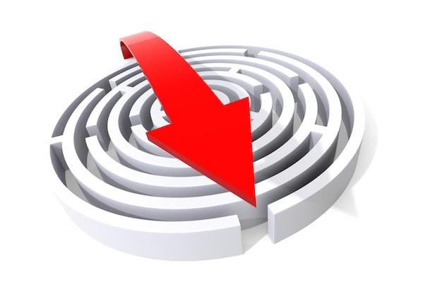 Verlassen sie das labyrinth. computergerenderte grafik für das geschäftskonzept