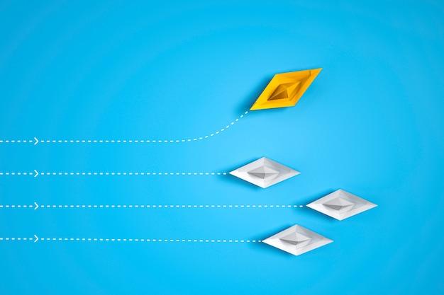 Verlassen sie ihre komfortzone - papierbootwechselrichtung. 3d-rendering