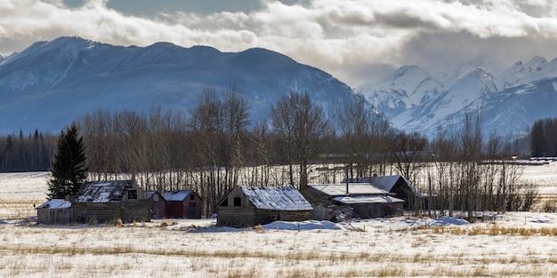 Verlassene bauernhäuser in schnee bedeckten feld, landstraße 16, yellowhead-landstraße, britisch-columbia, kanada