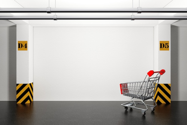 Verlassener einkaufswagen in der tiefgarage extreme nahaufnahme. 3d-rendering.