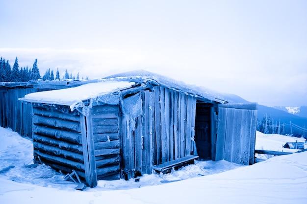 Verlassenes haus mit frost über winterwald und schneehintergrund am wintertag bedeckt. landschaft des wintermärchenland-naturkonzepts