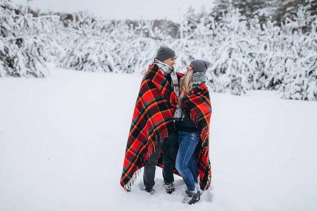 Verliebtes paar, das sich mit einer decke in einem schneebedeckten schönen winterwald versteckt