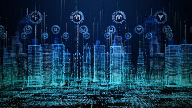 Vernetzung mit smart city-technologie Premium Fotos