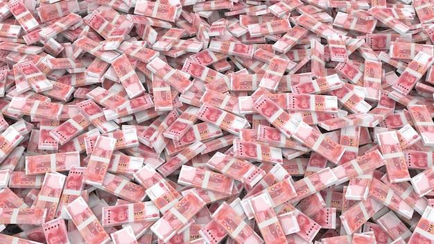 Verpackung von banknoten in stückelungen von einhundert chinesischen yuan für den gesamten rahmen