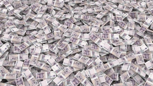 Verpackung von banknoten in stückelungen von fünf chinesischen yuan für den gesamten rahmen